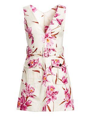 Corsage Orchid-Print Linen Safari Dress