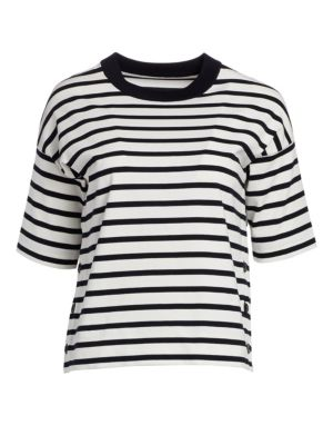 LORO PIANA | Milos Cotton Side Button Striped Tee | Goxip
