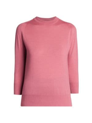 LORO PIANA | Manica Three-Quarter Sleeve Cashmere Sweater | Goxip