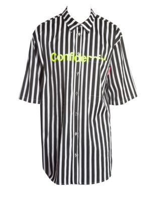 Graphic Striped Short-Sleeve Button Down Shirt