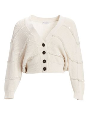 Crop Sequin Cotton Cardigan