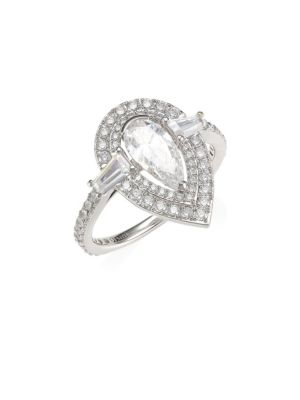 Pear-Cut Cubic Zirconia Halo Ring