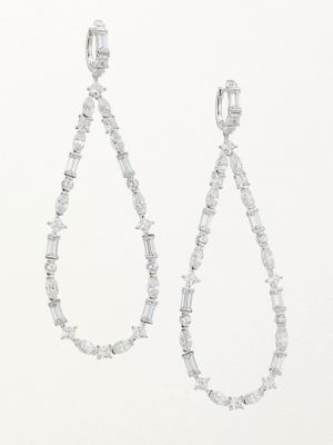 ADRIANA ORSINI Large Mixed-Shape Cubic Zirconia Teardrop Drop Earrings in Rhodium