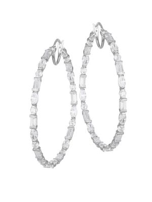 Large Mixed-Shape Cubic Zirconia Hoop Earrings