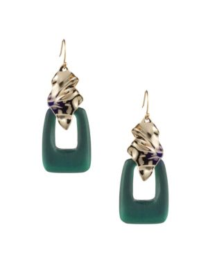 Crumpled Goldtone Cutout Lucite Wire Earrings