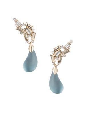 Climbing Swarovski Crystal Baguette & Dangling Dewdrop Earrings in Gold Blue