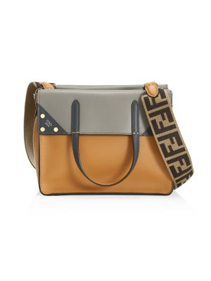 Leather Tri-Tone Foldover Tote