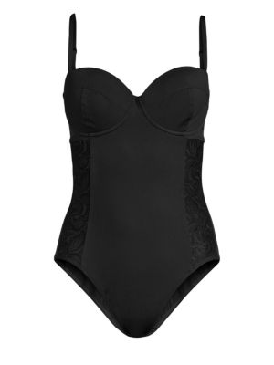 AMORESSA | Moulin Rouge China Doll One-Piece Swimsuit | Goxip