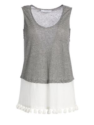 Stripe Linen & Cotton Pom-Pom Tank