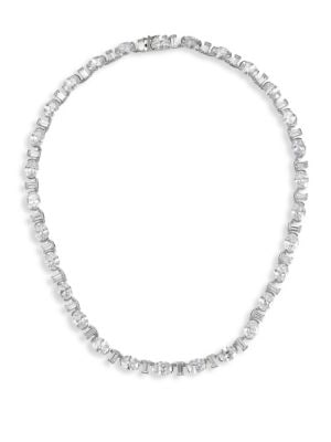 ADRIANA ORSINI Brilliant & Baguette-Cut Cubic Zirconia Collar Necklace in Rhodium