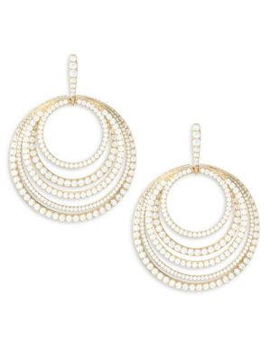 ADRIANA ORSINI Eclectic 18K Goldplated Silver & Cubic Zirconia Multi-Circle Drop Earrings
