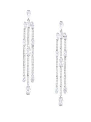 ADRIANA ORSINI Eclectic Cubic Zirconia Waterfall Earrings in Rhodium