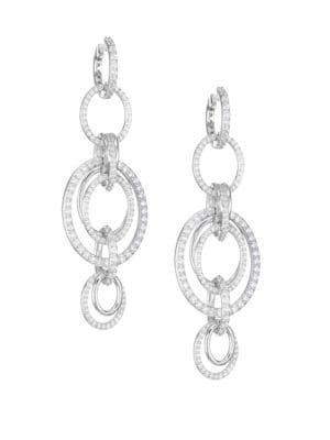 ADRIANA ORSINI Eclectic Cubic Zirconia Orbital Drop Earrings in Rhodium