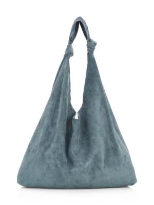 Bindle Double Knot Suede Hobo Bag, Pale Teal