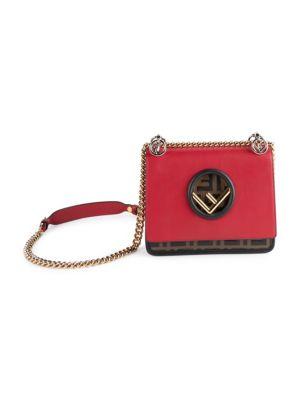 Small Kan I F Leather Shoulder Bag