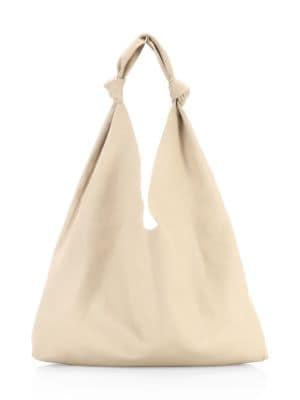 Bindle Double Knot Leather Hobo Bag, Eggshell