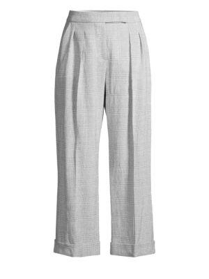 Dax Plaid Wool Cropped Pants