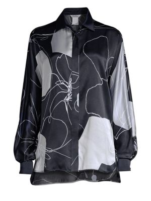 Renna Silk Abstract Floral Blouse