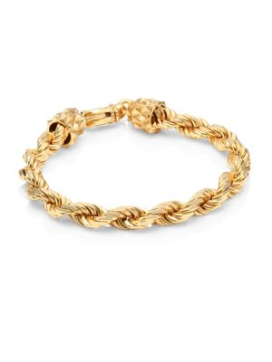 24K Yellow Goldplated & Sterling Silver Rope Chain Bracelet