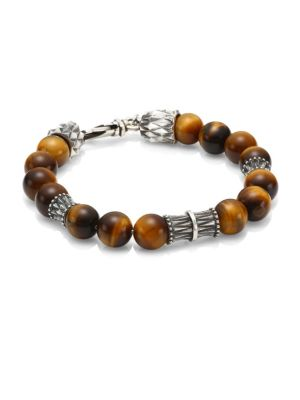 Sterling Silver & Tiger's Eye Marble Ball Bracelet