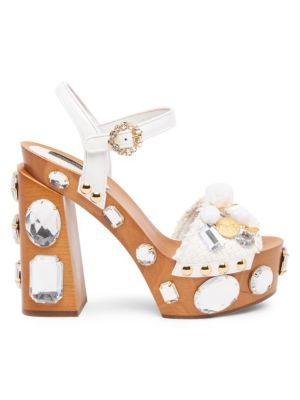 Embellished Wooden Platform Sandals in Multi