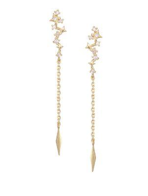 Dancing Star 14K Goldplated & Crystal Earrings