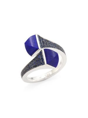 Cleo By Marli 18K White Gold, Lapis Lazuli & Blue Sapphire Ring