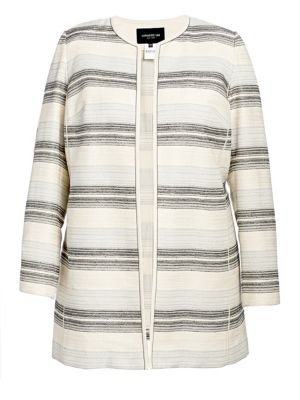 Pria Striped Open-Front Jacket