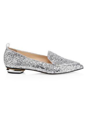 Beya Metallic Leather Beveled Heel Loafers