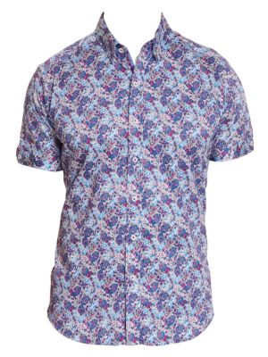 Paladin Geometric Floral Short-Sleeve Button-Down Shirt