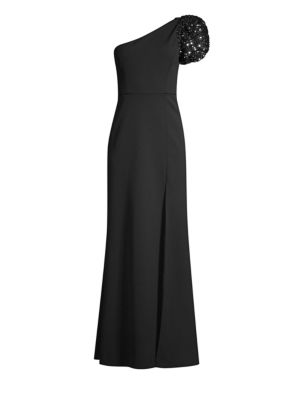 Sequin Puff-Sleeve One-Shoulder Gown