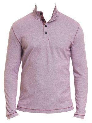 Leonard Piqué Cotton Quarter-Button Pullover