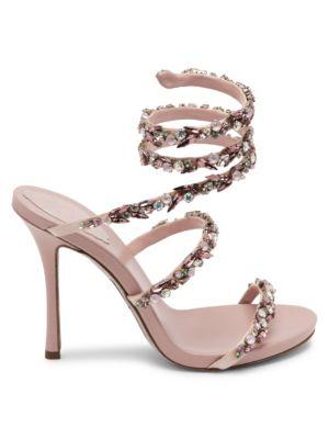 Jewel Satin Ankle-Wrap Sandals