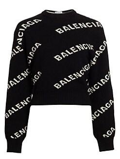 발렌시아가 Balenciaga Intarsia Logo Cropped Crewneck Sweater,Black Multi