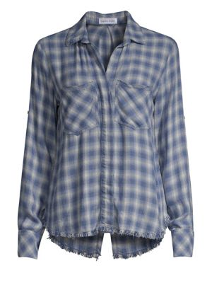 BELLA DAHL   Plaid Raw-Hem Button-Down Shirt   Goxip