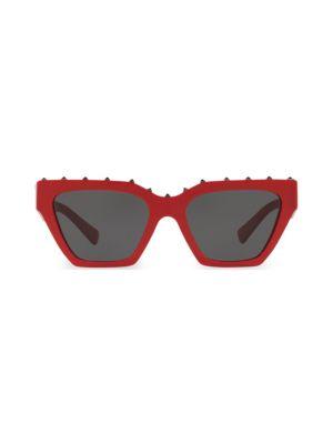 VA4046 Solid Red 53MM Cat Eye Sunglasses