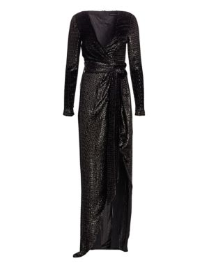 Lurex Faux Wrap Metallic Gown