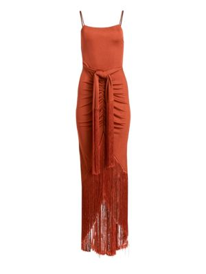 Natalia Tie-Waist Fringe Dress