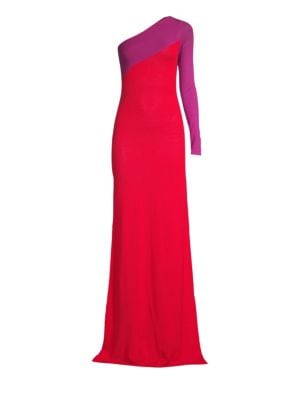 VICTOR GLEMAUD One-Shoulder Knit Bodycon Gown in Fuschia And Purple Combo