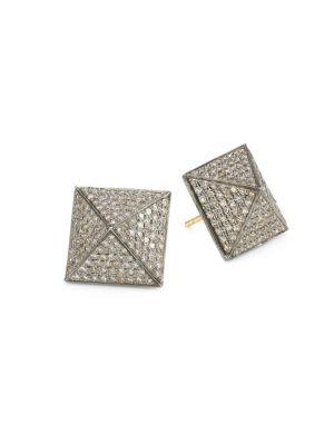 14K Black Rhodium Silver & Diamond Stud Earrings