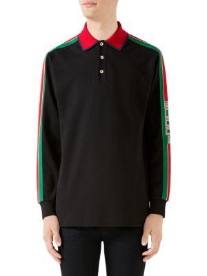 Men'S Web-Striped Long-Sleeve Polo Shirt in Black Multi