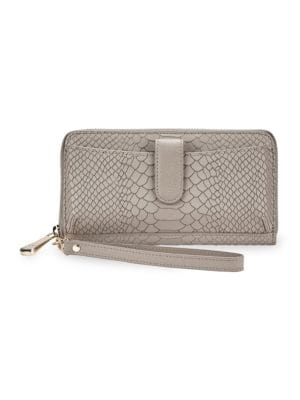 City Phone Python Leather Wallet, Stone
