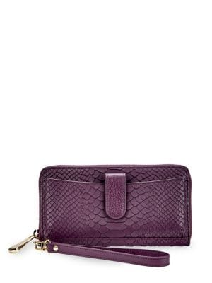 City Phone Python Leather Wallet, Purple