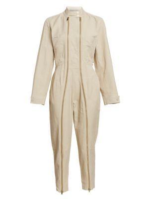 Compact Cotton Zipper Front Jumpsuit