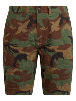Seersucker Camouflage Flat Shorts