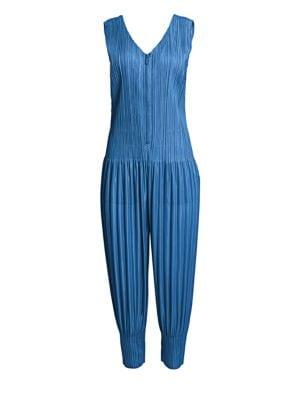 Pleated Zip-Front Jumpsuit