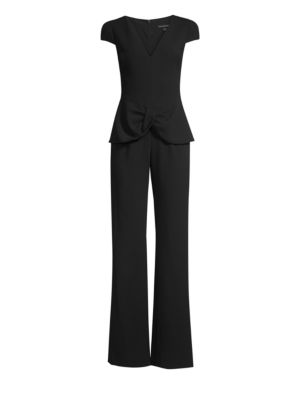 Harlow Tulip Short-Sleeve Jumpsuit in Black