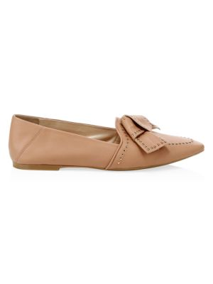 Leather Point-Toe Bow Flats