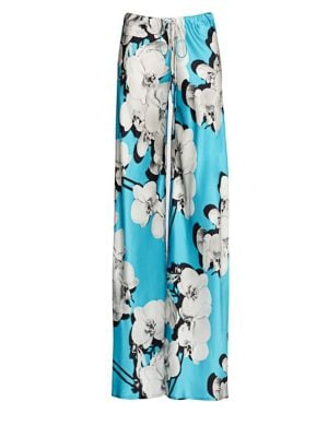 Orchid-Print Silk Wide-Leg Pants