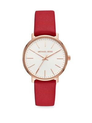 Pyper Three-Hand Leather Strap Watch